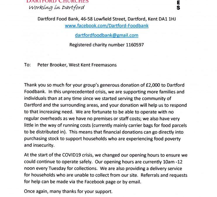 Dartford Foodbank thanks West Kent Freemasons!